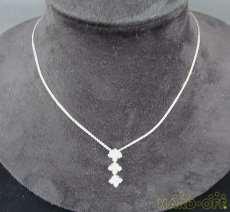 K18WGダイヤ付きネックレス