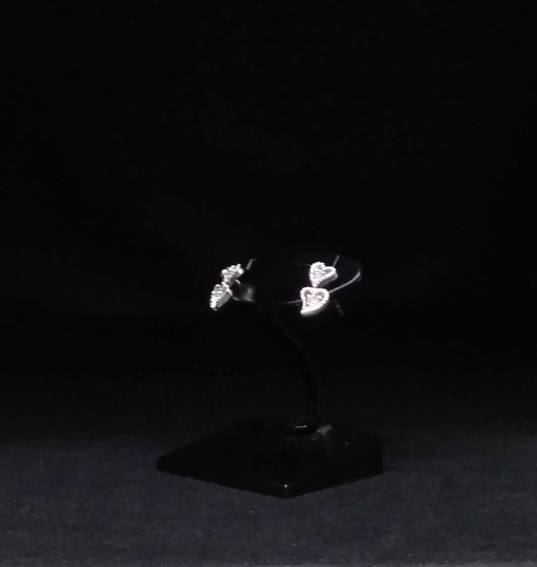K18 WGハート2連型ピアス|宝石付きピアス