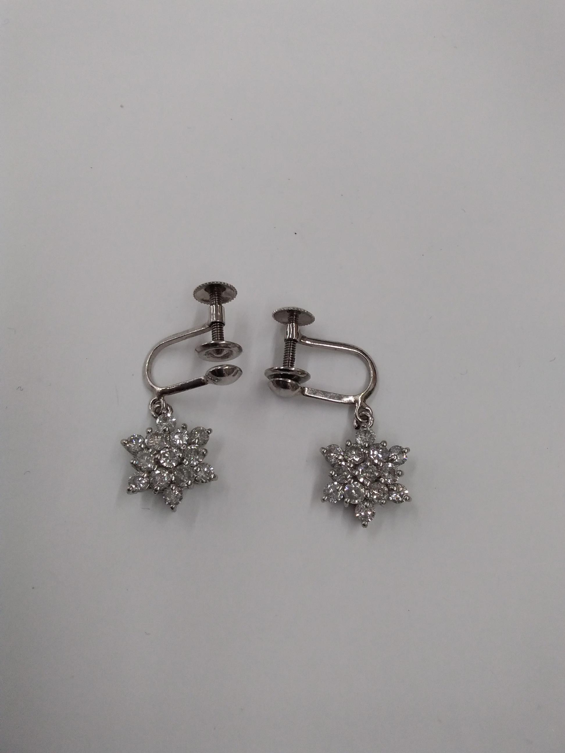 プラチナ|宝石付きイヤリング