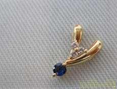 透明、青石付き K18YGトップ|宝石付きトップ