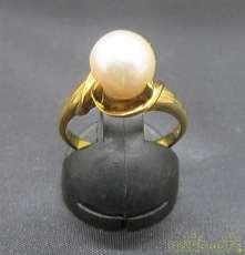K18パール付きリング|宝石無しリング