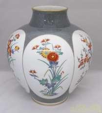染錦梅菊牡丹 花瓶|香蘭社