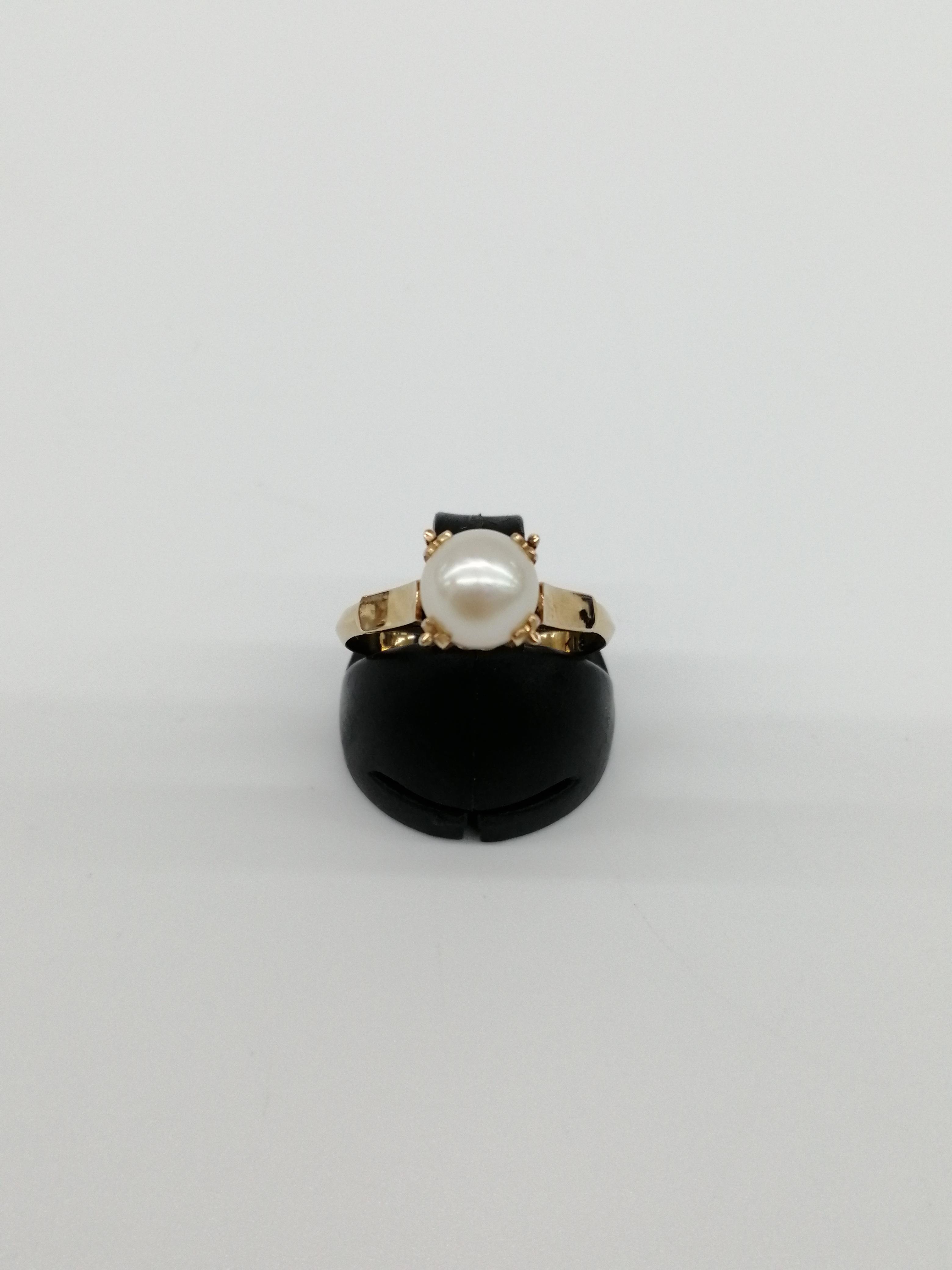 K18パール付きリング|宝石付きリング