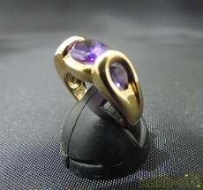 K18リング|K18紫石付きリング