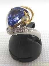 K18・PT900リング タンザナイト2ct ダイヤ付き|宝石付きリング