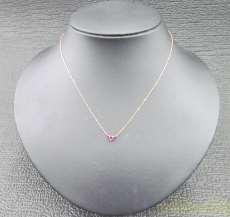 ハート赤石付ネックレス|宝石付きネックレス