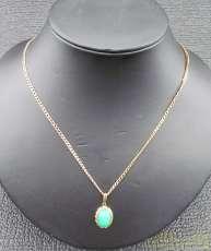 K18ネックレス 緑石|宝石付きネックレス
