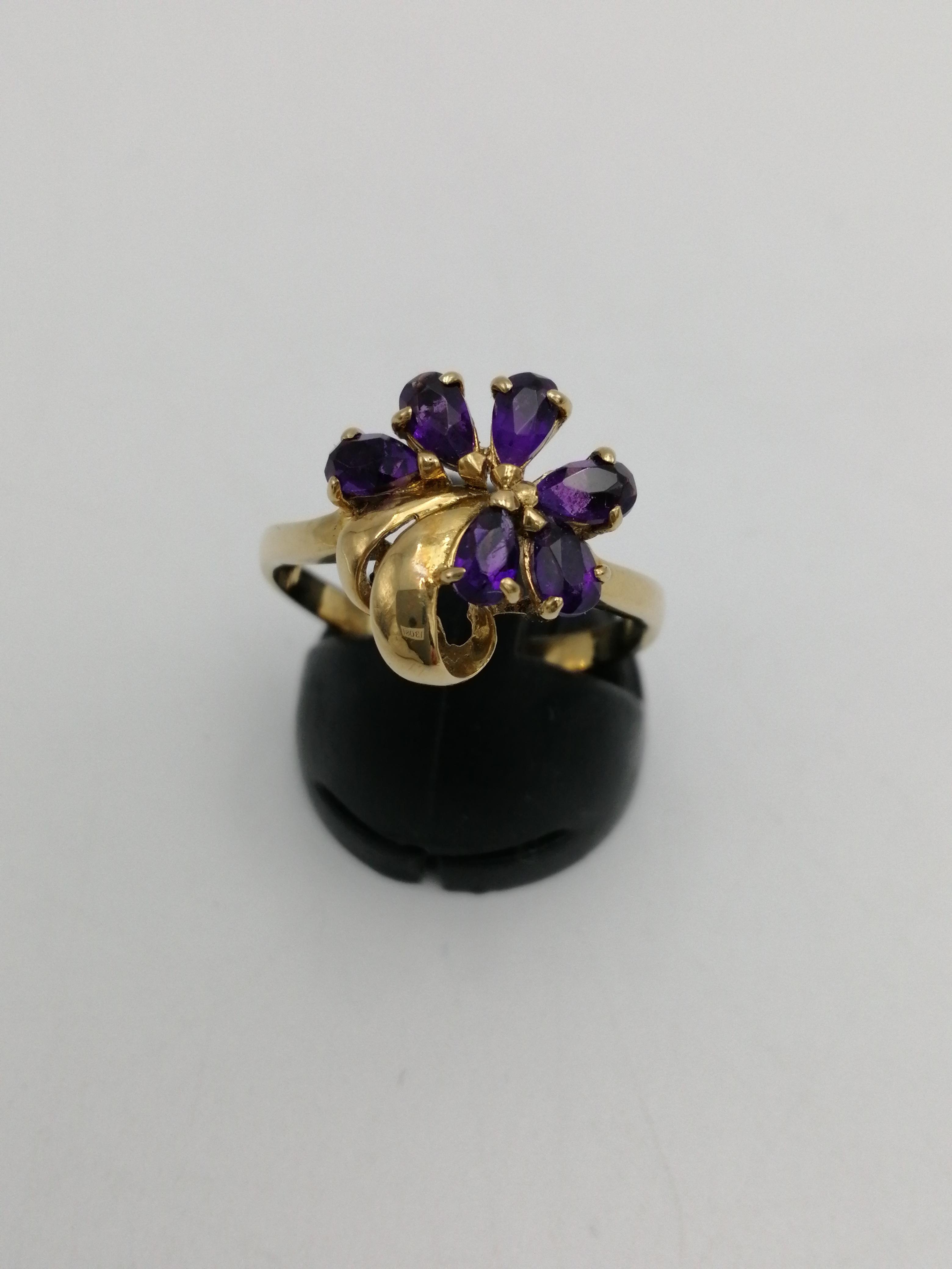 K18リング(紫石付き)|-