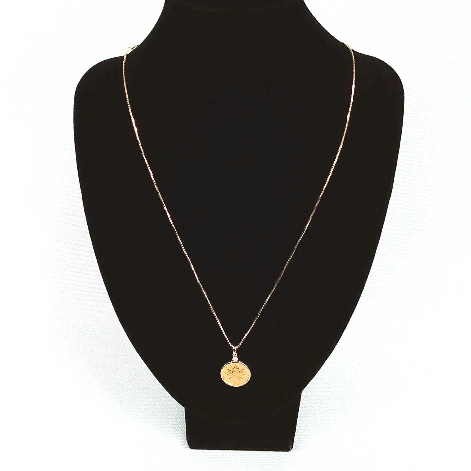 K18メープルリーフコインネックレス|宝石無しネックレス