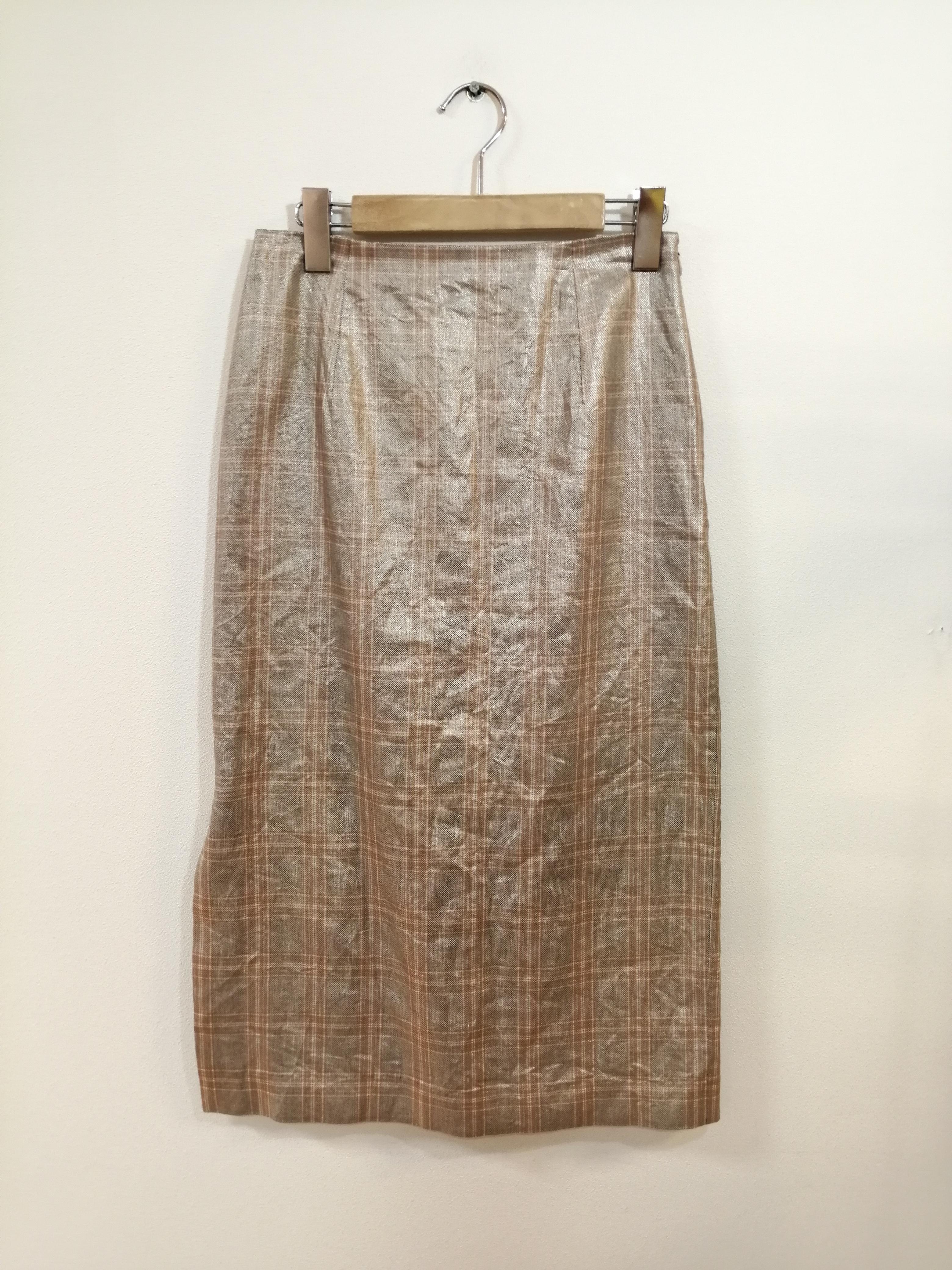 リネン混チェックスリットタイトスカート|IENA
