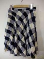 麻混チェック柄スカート|Y,S