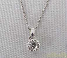 K10WGネックレス 宝石付きネックレス