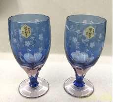 江戸切子 足付きビール杯 ペア|彩鳳
