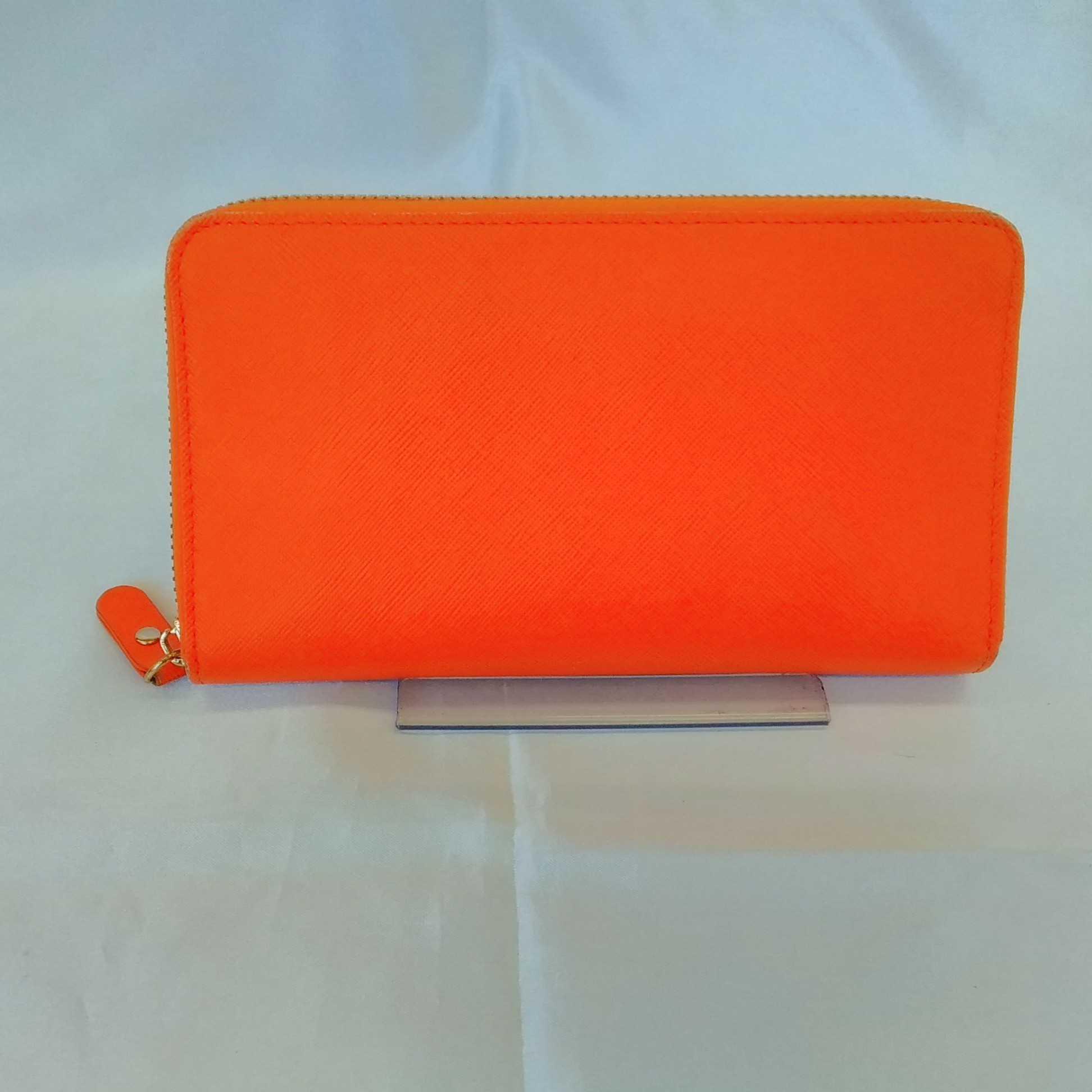 箱付き サフィアノレザー財布 長財布 オレンジ カード入れ|コジマジック