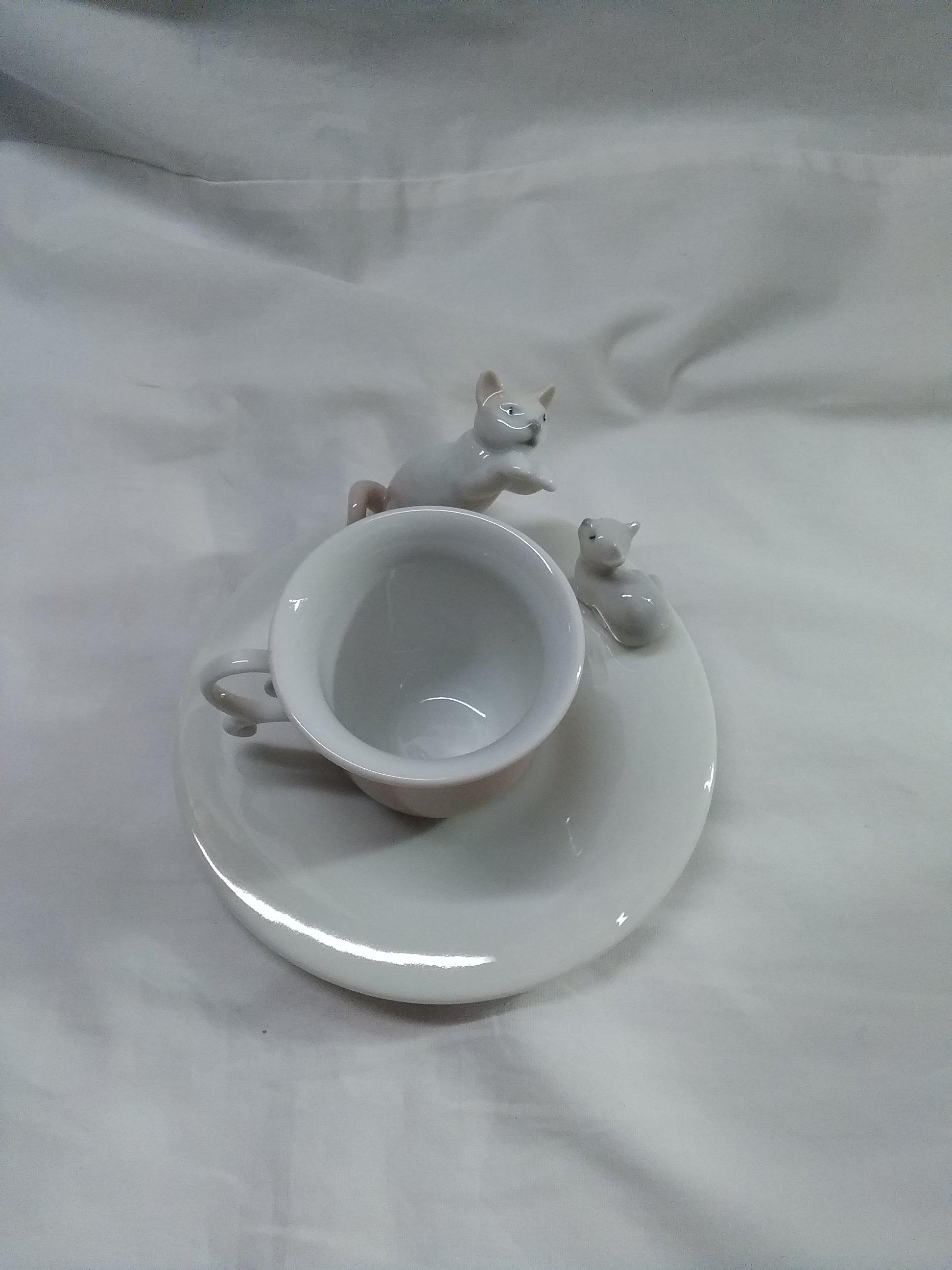 ネコとコーヒーカップ リヤドロ