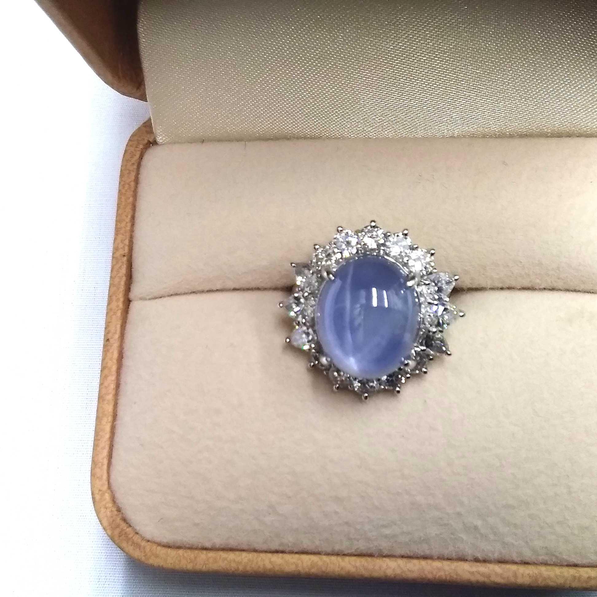 プラチナスターサファイヤリング|宝石付きリング