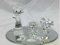 猫・ネズミ・ハリネズミ 置物 ガラス|SWAROVSKI