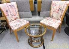 籐製丸ガラステーブル&椅子2脚セット|-