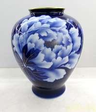 深川製磁 花瓶 花器 瑠璃牡丹|深川製磁