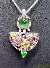 K18WGマルチカラーストーンネックレス 宝石付きネックレス