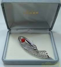 赤珊瑚シルバーブローチ|宝石無しカフス