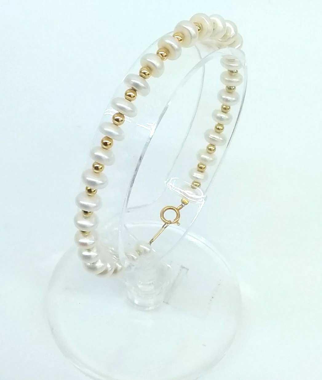 K18パールブレスレット|宝石付きブレスレット