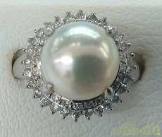 PT850パールリング|宝石付きリング