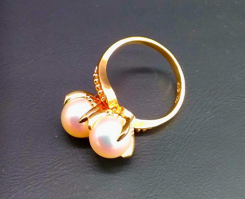 パール付K18リング|宝石付きリング