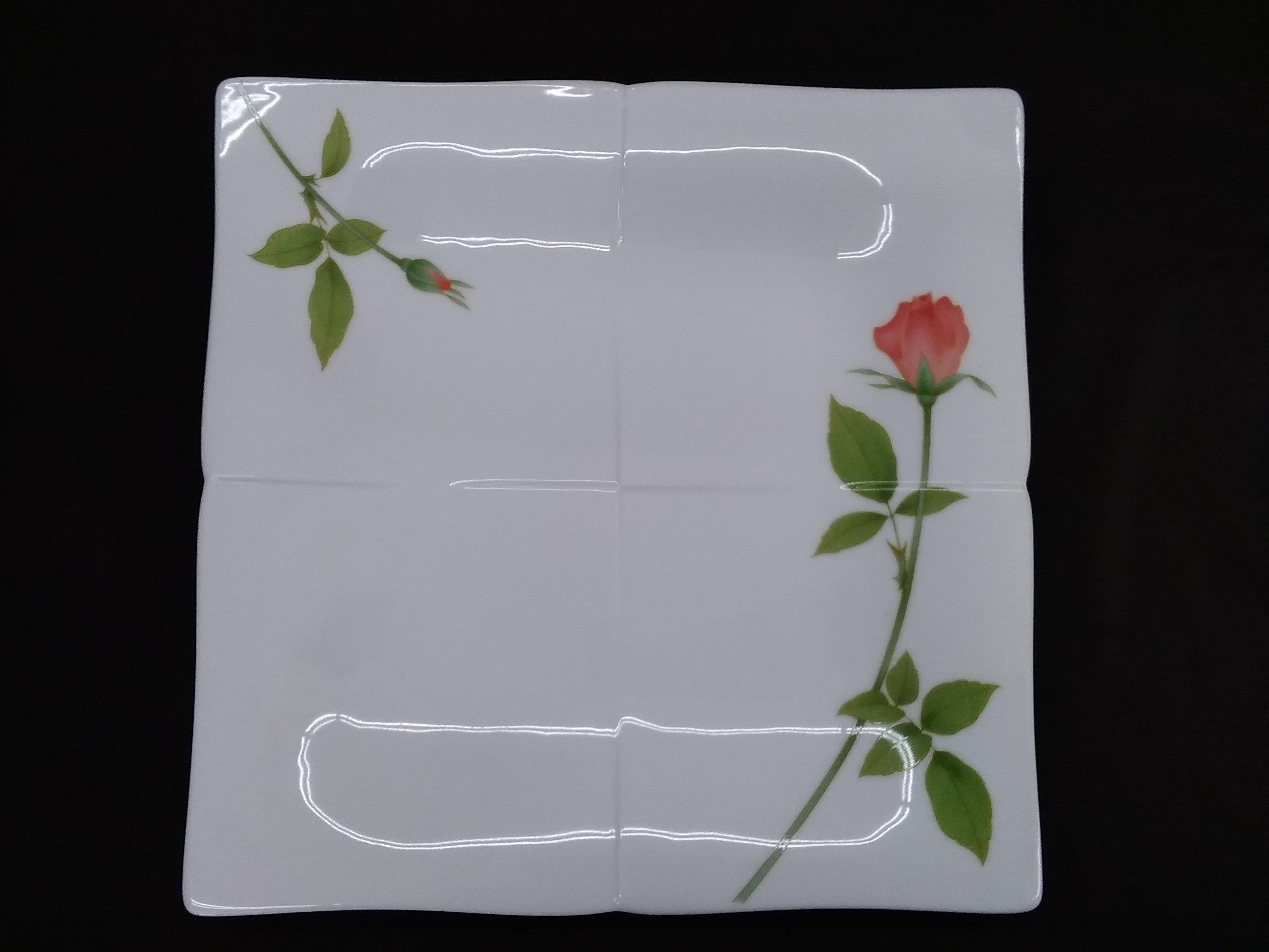 ノーブルローズ 角大皿|香蘭社