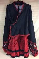 リボン帯付き 和柄コスチューム 蝶柄着物袖上下セット