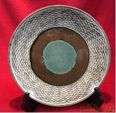 地釉象嵌縄文皿|島岡達三