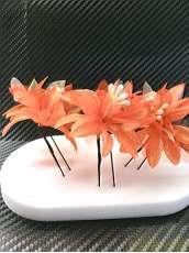 髪飾り オレンジ3本|不明