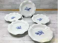 オリエンタルブルー花柄違い5枚皿|深川製磁