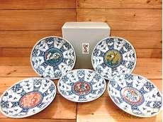 染付取皿5枚柄違いセット|九谷焼