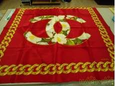 シャネル ケース付き!赤レッドスカーフ|CHANEL
