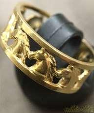 K18 金 リング 宝飾品 馬|宝石無しリング